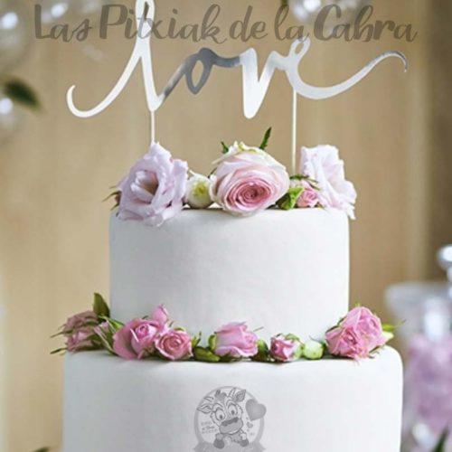 Topper para tartas love plata