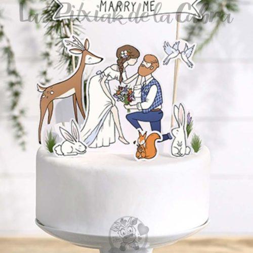 Topper para tartas boda silvestre