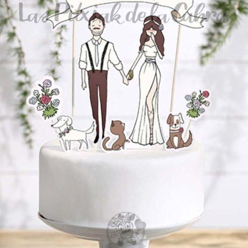 Topper para tartas boda con perros y gatos