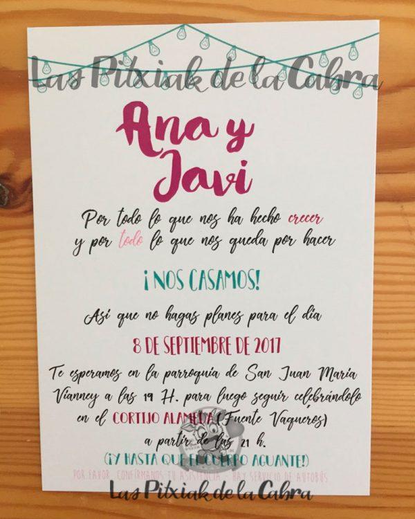 Invitación de boda con varios colores en morados y turques