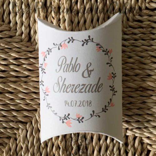 Caja con instrucciones para bodas arroz