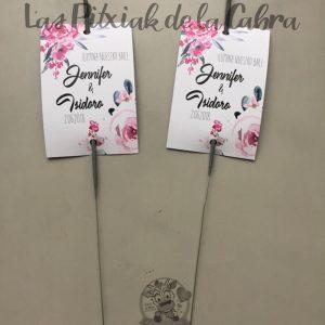 Bengalas para el primer baile con flores rosas