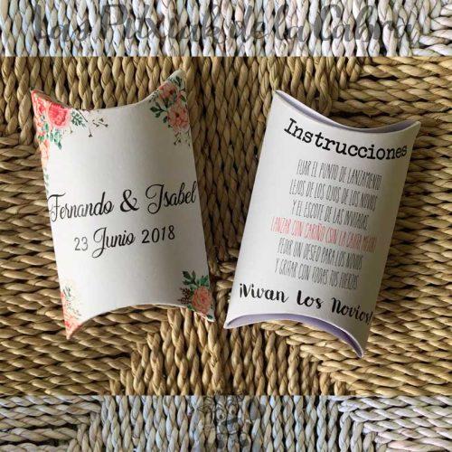 Cajitas con instrucciones para el arroz en las bodas