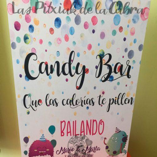Carteles para bodas candy bar que las calorías te pillen bailando con calorías muy monas