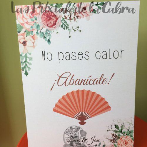 Cartel abanico bodas con flores