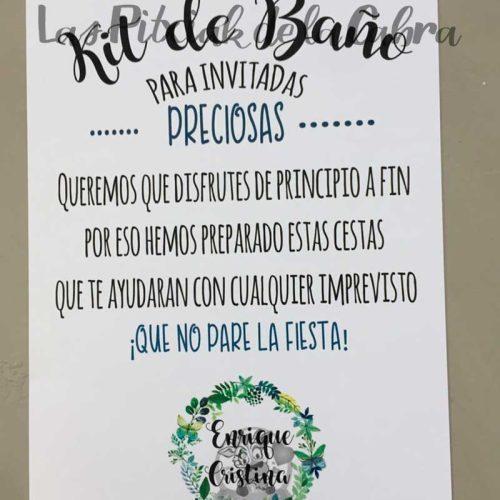 Carteles para los baños invitadas preciosas con flores