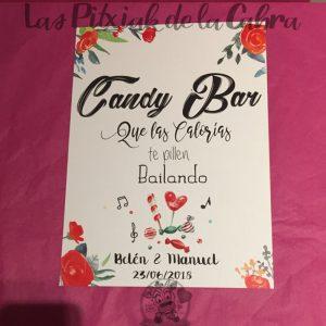 Cartel para el candy bar calorías y flores