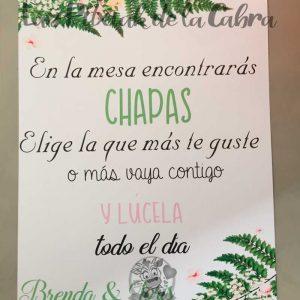 Cartel para chapas de boda