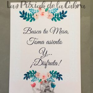 Cartel busca tu mesa toma asiento para bodas