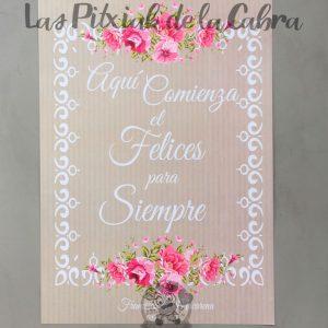 Cartel de boda comienza el felices para siempre