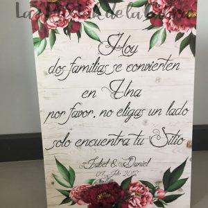 Cartel de boda escoge tu sitio flores oscuras vintage para bodas
