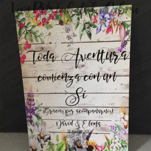 Cartel toda aventura comienza con un si boda rural