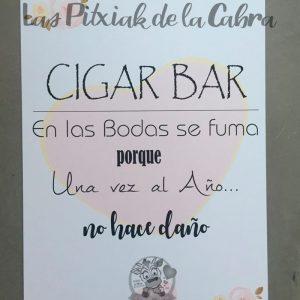 Cartel para boda cigar bar en las bodas se fuma