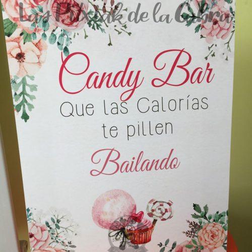 Cartel para bodas candy bar que las calorías te pillen bailando acuarela