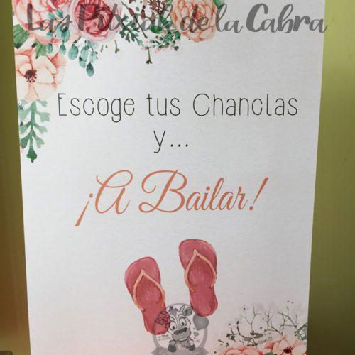 Cartel para bodas escoge tus chanclas y a bailar chanclas acuarela