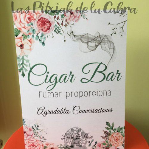Cartel para bodas cigar bar con flores de acuarela