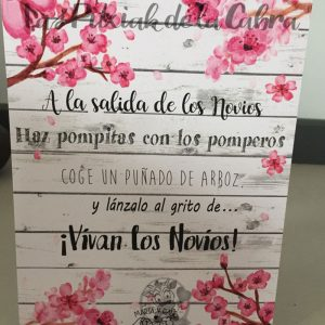 Cartel para bodas pomperos con flor de almendro