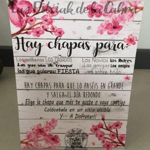 Cartel para bodas para chapas con flor de almendro
