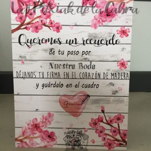 Cartel para bodas recuerdo en nuestro corazón flor de almendro