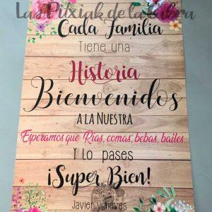 Cartel para bodas cada familia tiene una historia acuarela y madera