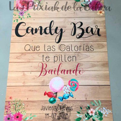 Cartel para bodas candy bar calorías bailando acuarela y madera