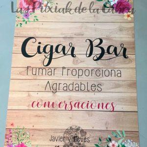 Cartel para bodas cigar bar acuarela y madera
