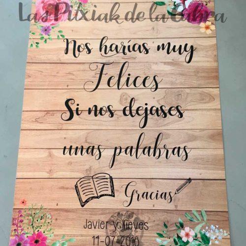 Cartel para bodas libro de firmas acuarela y madera
