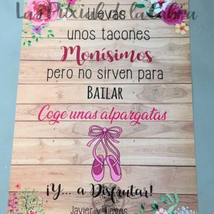 Cartel para bodas alpargatas madera y acuarela