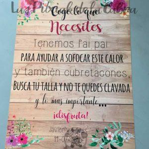 Cartel para bodas coge lo que necesites acuarela y madera