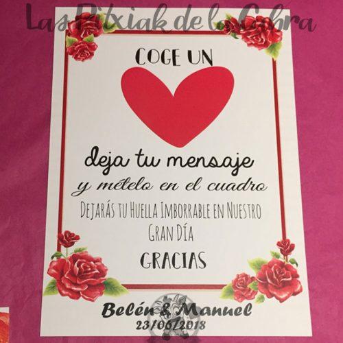 Cartel para bodas deja tu mensaje en el corazón
