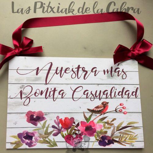 Cartel para bodas nuestra más bonita casualidad