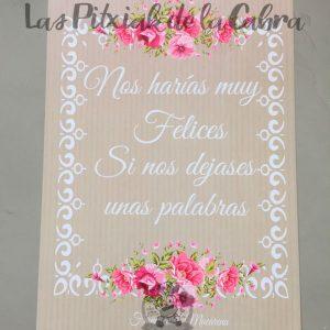 Carteles para bodas nos harías muy felices diseño de rosa inglesa