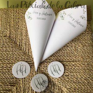 Conos para pétalos de boda eucalipto
