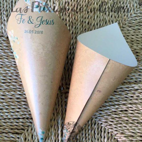 Conos para pétalos de boda con diseño marrón y verde