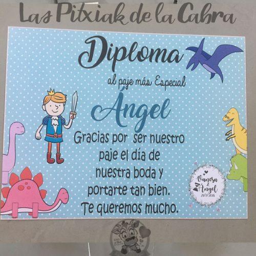 Diploma para paje de boda con dinosaurios
