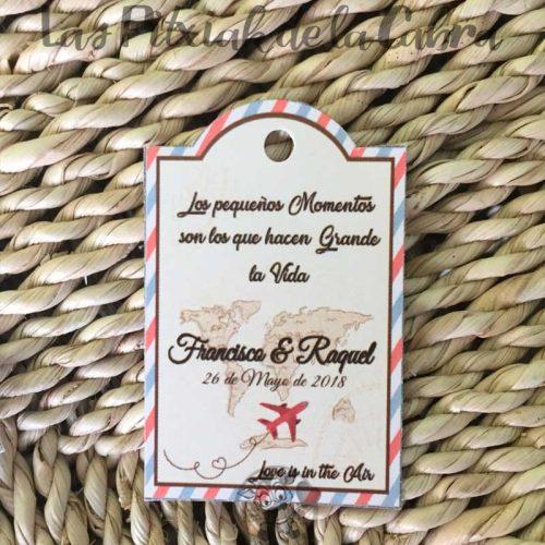 Etiquetas para bodas viajeras avión la vida son momentos