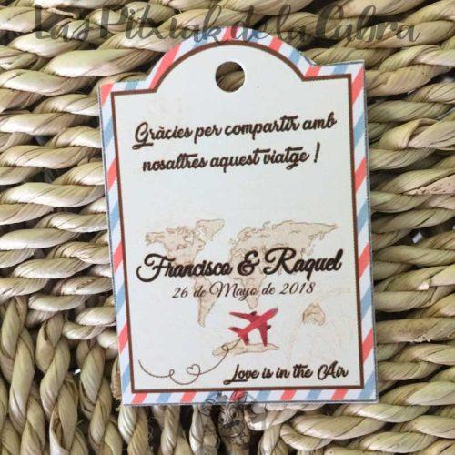 Etiquetas para bodas viajeras en catalán