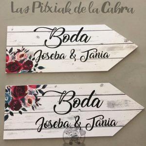 Flechas de boda para indicar con nombres de los novios
