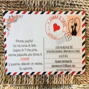 Invitación de boda postal de gatos disfrazados