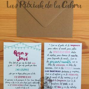 Invitación de boda con bombillas y frases