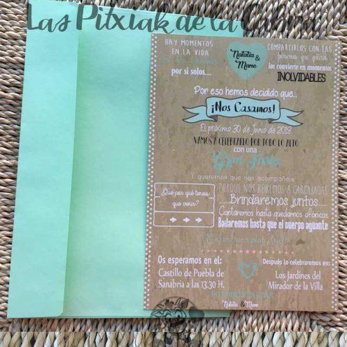 Invitación de boda con diseño marrón y verde menta