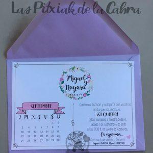 Invitación de bodas con calendario marcado en morado