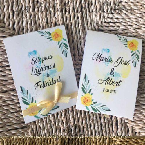 Pañuelos para lágrimas de felicidad en amarillo