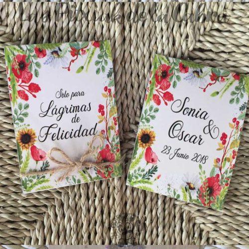 Pañuelos para lágrimas de felicidad amapolas y girasoles