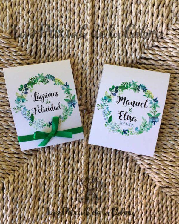 Lágrimas de felicidad para bodas en verde