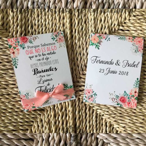 Pañuelos para tus lágrimas de felicidad con flores salmón