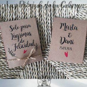 Pañuelos para lágrimas de felicidad de boda en papel kraft y cuerda
