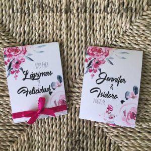 Pañuelos para bodas lágrimas de felicidad rosas y grises