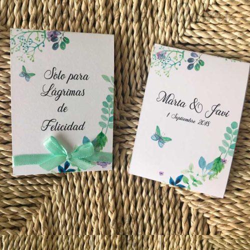 Lágrimas de felicidad para bodas con diseño de plantas y lazo verde menta
