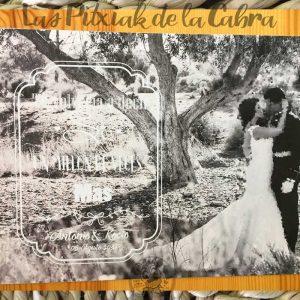 Lámina para detalle de boda con foto en blanco y negro